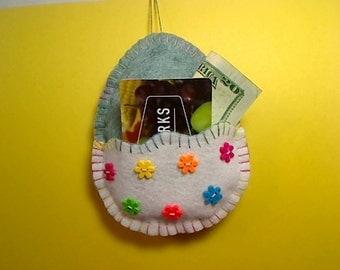 Large Easter Egg Ornament | Money/Gift Card Holder | Teal Green/White Egg | Easter Decoration | Felt Egg Ornament | Handmade | Holidays #1