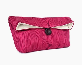 Pink on Mulberry Tree Wood Grain Clutch, Bridesmaid Gift, Makeup Bag, Pink Clutch Purse, Burgundy, Great for Travel, Gift Under 25