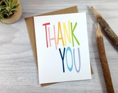 Rainbow Thank You Greeting Card, Typography Card - single