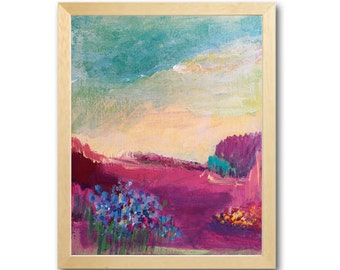"""Abstract Painting   Landscape  Original Acrylic Framed or Unframed 8"""" x 10"""""""
