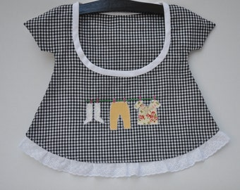 Black and White Gingham French Peg Bag, Wardrobe Tidy or Bathroom Accessory with Handmade Wooden Hanger