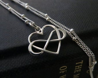 Entwined infinity necklace, infinity heart necklace, sterling silver or 14k gf chain