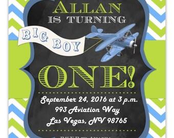 Airplane 1st Birthday Party Invitation, Aviation Invite, CUSTOM, 4x6 or 5x7 size - bi plane invitation, chevron print, plane and banner