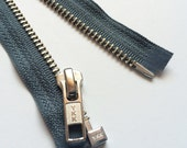 SEPARATING Metal Zippers- YKK nickel teeth zips- (1) piece - Slate Gray 914- Available in 18 and 22 Inches