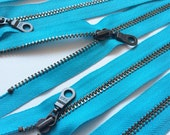 Metal Teeth Zippers- YKK Antique Brass Donut Pull Number 4.5s- 5 pc Parrot Blue 547- Available in 4,5, 7, 9, 11, 12 and 14 inches