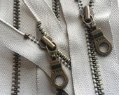 YKK Metal Teeth Zippers- Light Grey Antique Brass Donut Pull Color 316- 5 Pieces- Available in 7, 9, 11, 14 or 30 Inches