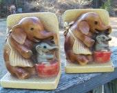 Vintage Chalkware Elephant Bookends--Mama and Baby Elephant--Babar--Dumbo--Nursery Decor