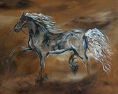 """Horse Painting Art Print Horse Friesian Horse Running Abstract Horse Art Print  """"Spirited"""" Equestrian Leslie Allen Fine Art"""