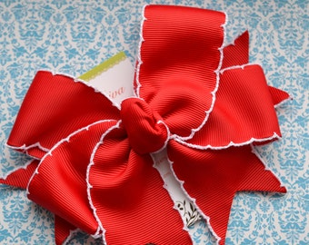 Red with White Crochet Edge XL Diva Bow