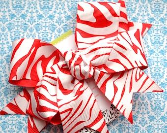 Red and White Zebra Stripe XL Diva Bow