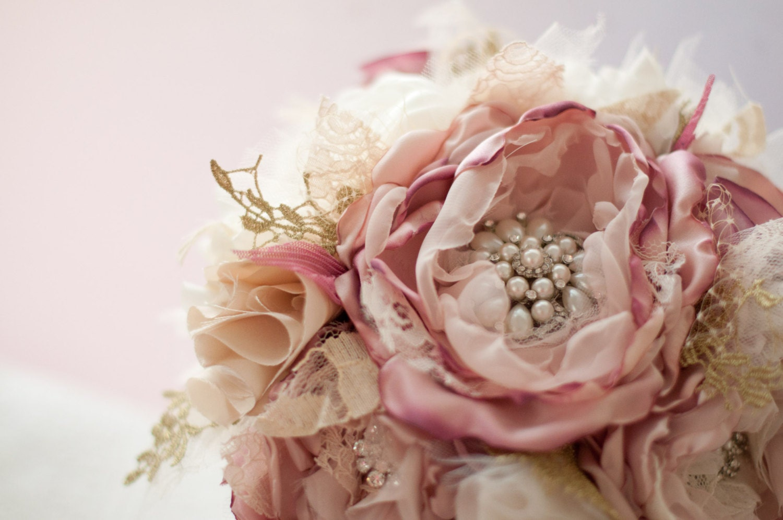 Bridal Bouquet Materials : Brooch bouquet fabric wedding bridal flower