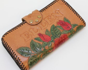 60's Hand Tooled Leather Wallet / Checkbook Wallet / Kiss Lock