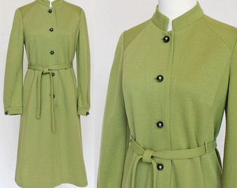 60's / 70's Button Front Dress / Wool Knit / Nehru Stand Up Collar / Green / Kimberly / Small