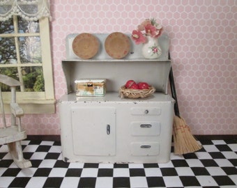 Vintage Doll House Furniture - Metal Kitchen Hutch Cupboard - Marx 1940
