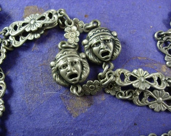 "Reserved for Bess Antique silver Peruzzi Necklace vinaigrette Heart Locket Grotesque Mask Extra long 37"" Silver Chatelaine victorian Cherub"