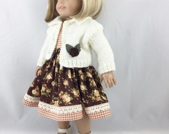 "18"" Girl Doll Clothes Off White Hand Knit Cardigan Dusty Peach Chocolate Brown Olive Green Roses and Checks Sleeveless Dress"