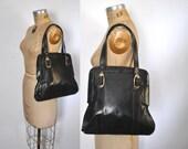LARGE Leather Tote Bag / black 1960s purse