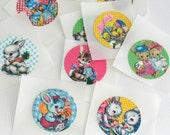 Retro Animal Stickers, EASTER Handmade Stickers, Envelope Seals, Paper Goods, Sticker Set, Vintage Animal Stickers, Daily PLanner, Set of 10