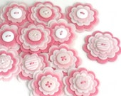 BABY GIRL Handmade Felt Flower Appliques, Felt Flower Embellishments in Pink and White, Layered Felt Blooms, Felt Die Cuts - Set of 3