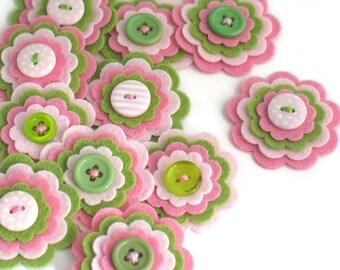 WATERMELON - 3 x Handmade Felt Flower Embellishments, Felt Flower Applique, Wedding Flowers, Felt Die Cut, Summer Felt Flowers, Hair Clippie