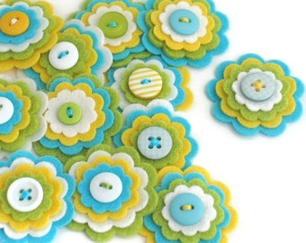 CHLOE x 3 Felt Flower Handmade Embellishments, Felt Flower Applique, Sewing Appliques, Scrapbook Journal Cardmaking Flower Embelishments