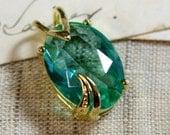 18x13mm Oval Chrysolite Green Aqua Glass Jewel Gold Fancy Setting Pendant - 1 pc