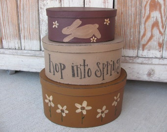 Primitive Bunny and Daisy Spring Thyme Hand Painted Stacking Boxes GCC04408
