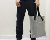 New Year SALE - 20% OFF Signor in Light Gray / Unisex / Women / Men / Tote / Gift Ideas / For Him / Handbags / Document / Laptop / School