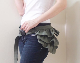 Back To School SALE - 20% OFF Gathered Waist Purse in Army Green / Fanny Pack / Hip Bag / Pouch / Waist Belt / Women / For Her