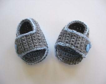 Ready To Ship Crocheted Gray Sandals Baby Boy - Gray and Blue Crocheted Baby Boy Booties - Size 3 to 6 Months