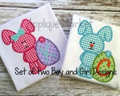 Machine Embroidery Design Applique My First Easter Egg Boy and Bow Girl Set INSTANT DOWNLOAD