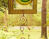 Window Art  Suncatcher Recycle Glass Recycled Picture Frame Green Glass