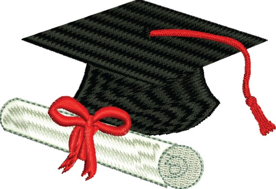 Graduation cap and diploma machine embroidery design any