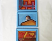 Original Oil Painting Small Art Triptych Framed Artwork Abstract Bright Colors Red Blue Painted Frames Baby Surreal