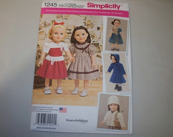 "New Simplicity 18"" Doll Clothing Pattern, 1245 (Free US Shipping)"