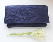 Navy Blue Clutch, Lace Clutch, Lace Wedding Clutch, Blue Bridesmaid Clutch, Bridesmaid Gift Idea, Personalized Bridesmaid Gift