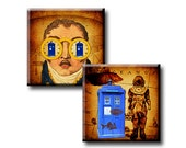Flight of the Tardis - 20mm, 17mm and 15mm squares - Digital collage sheet