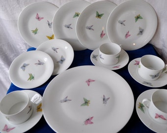 Butterfly Limoges Porcelain Dessert Set For Four/Vintage 1950s/Fifteen Pieces Total/4 Tea Cups & Saucers, 4 Plates, 1 Serving Plate