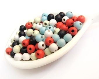 8mm Wood beads 100pcs - Mixed colors beads
