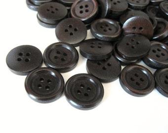 Dark brown Wooden Craft Buttons 18mm - set of 6 wood button  (BB219B)