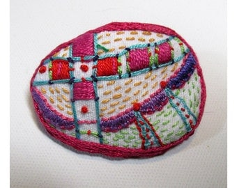 Hand Embroidered Colorful Pin