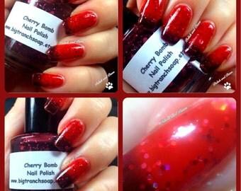Color Changing Nail Polish - Mood Nail Polish - Glitter - Cherry Bomb - 0.5 oz Full Sized Bottle