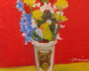 """Painting of Flowers . """"Barnes & Noble Bouquet,"""" 24x30 in."""