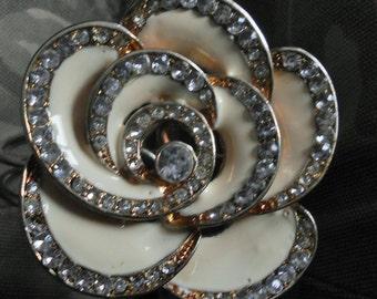 Vintage Enameled Large Flower Cuff Bracelet
