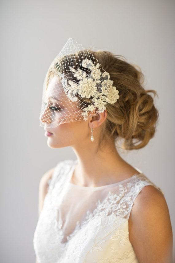 lace birdcage veil