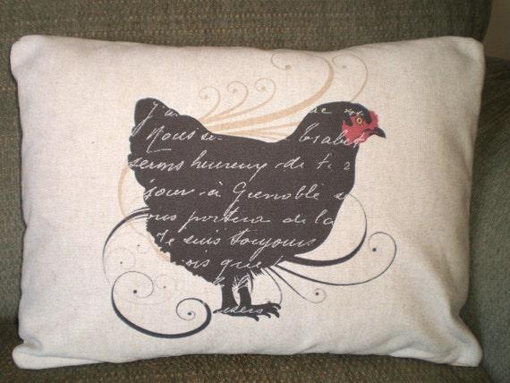 Black Rooster Throw Pillows : Items similar to French Black Hen Pillow Cover, Lumbar Pillow, Throw Pillow, French Rooster ...