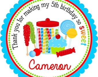 Candyland Stickers, Candyland Birthday Party, Personalized Labels, Sweets - Set of 12