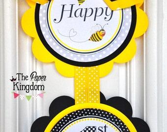 Bumble Bee Door Sign, Vertical Door Hanger, Bumble Bee Birthday Party