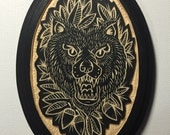 Hand Carved Bear Wall Art / Woodcut