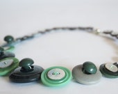 Green vintage button necklace handmade with upcycled new, used and vintage buttons.